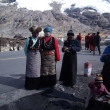 Tibetian women under the glacier